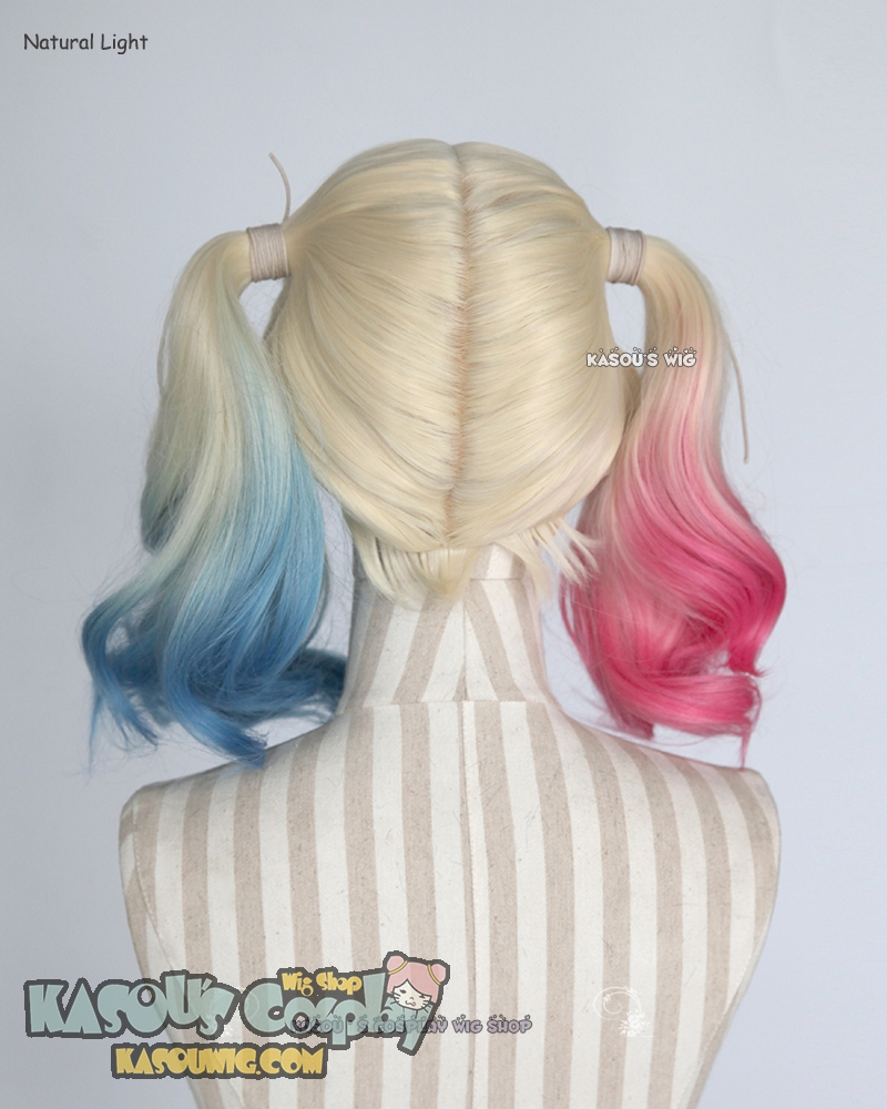Ladies Twisted Harlequin Pink and Blue Dip Dye Wig Suicide Halloween Fancy Dress